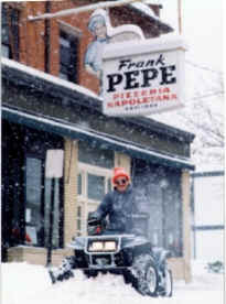 Snow removal at Pepe's Pizza!